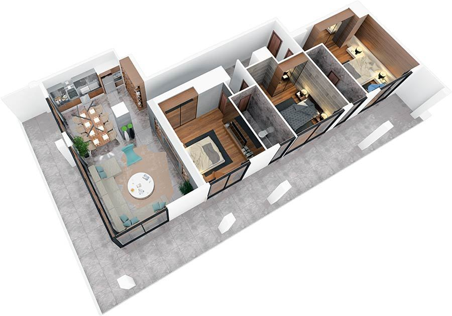 3 Bedroom Apartment of 121m² in City Center of Famagusta