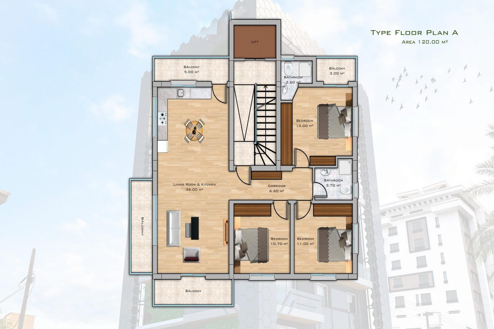 3 Bedroom Penthouse of 120m² in City Center of Kyrenia